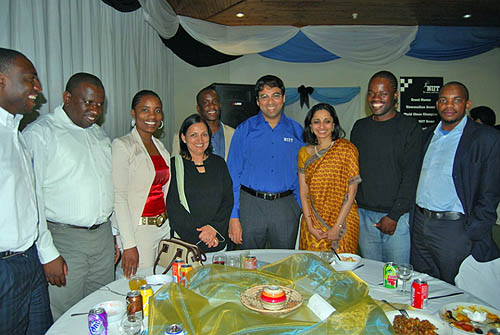 Anand with Botswana chess community and a NIIT representative. Photo by Booster Galesekegwe.