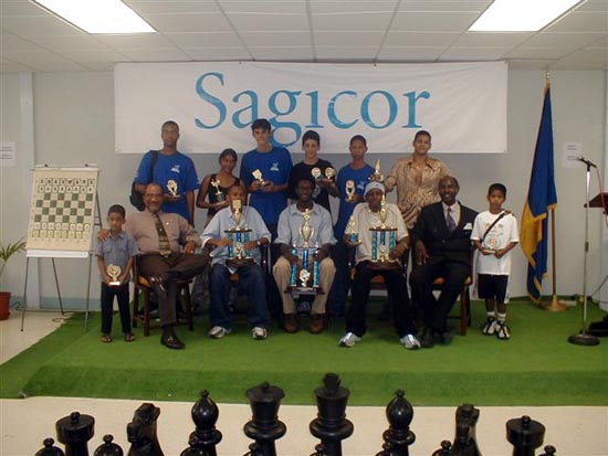 Prize winners at the Sagicor Open (Barbados Junior Open). Copyright © 2003, Barbados Chess Federation.