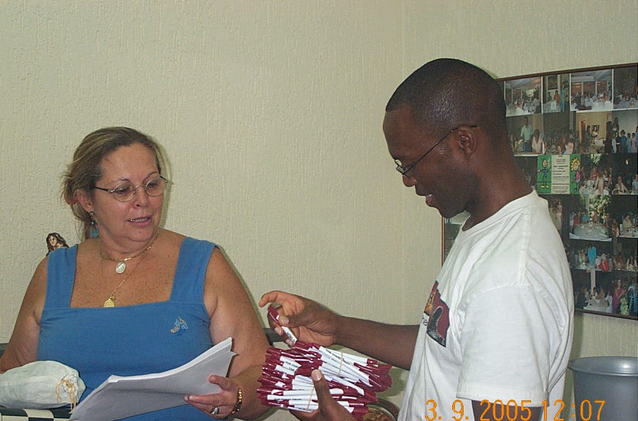Bearing gifts for the Centro Communitário Ludovico Pavoni in favela near Sao Paulo, Brazil