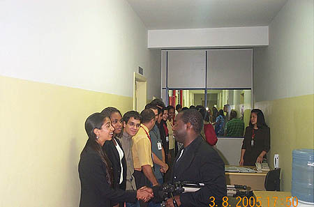 Meeting the university students at Universadade Zumbi dos Palmeres. Copyright © 2005, Daaim Shabazz.