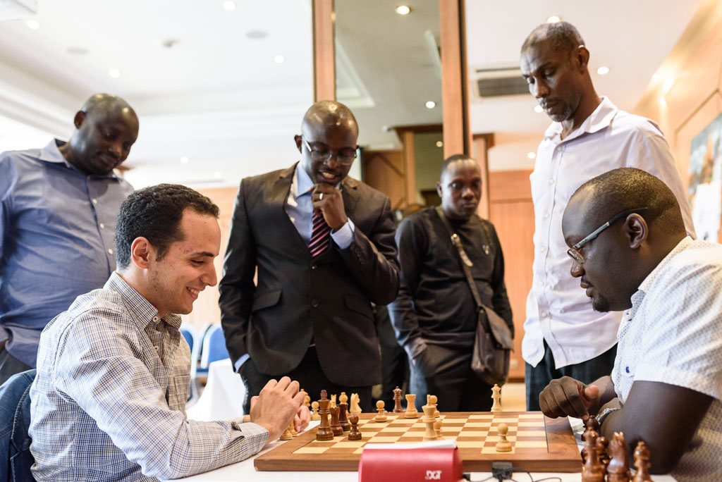 CIV Invitational - GM Bassem Amin analyzing with IM Arthur Ssegwanyi