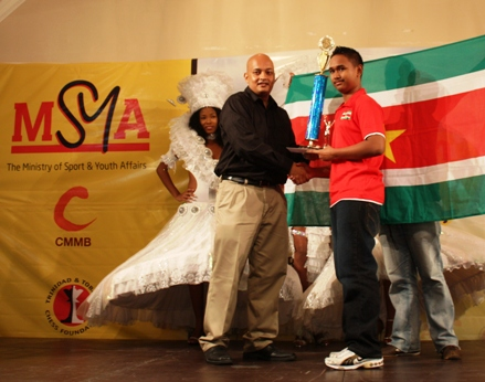 Immanuel Kromosoeto of Suriname, 1st place in under-14. Photo by Trinidad Chess Foundation.