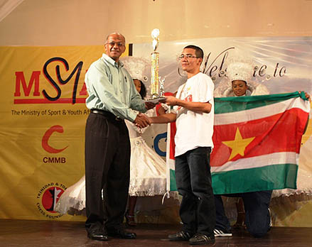 Romario Sanches of Suriname, 1st place in under-20. Photo by Trinidad Chess Foundation.