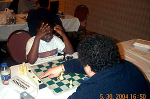 13-year old Kayin Barclay in a blitz battle. Copyright © 2004, Daaim Shabazz