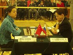 GM Zhu Chen (CHN) vs. WGM Alexandra Kosteniuk (RUS)