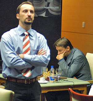 Topalov (left) awaits Morozevich's reply.  (Photo courtesy of WCC official site)