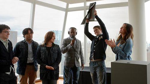 G-Star Team: Maxime Vachier-LaGrave, Hikaru Nakamura, Judit Polgar, Maurice Ashley, Magnus Carlsen and G-Star model, Liv Tyler.