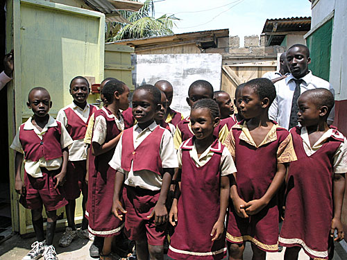 Students at Primary School in Cape Coast. They assembled to sing and give recitations.