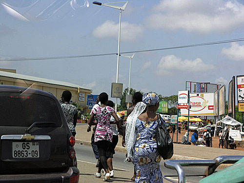Outside of Accra, in a town called Tema... pedestrian traffic is bustling.