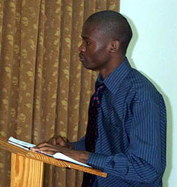 Amon Simutowe lecturing in Kingston, Jamaica.