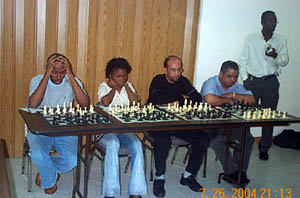 "AJamaican Women's Champion Deborah Richards (2nd from left) asked about Black female players…quite a common question. Richards has been scoring well in Jamaican ""men's"" events."