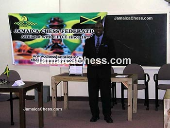 Jamaican Chess Federation President, Ian Wilkinson addressing the audience at the opening ceremonies. Copyright © 2004, JamaicaChess.com.