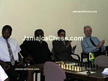 (L-R) Markland Douglas, Duane Rowe, Shane Matthews, Robert Wheeler at opening cermonies. Copyright © 2004, JamaicaChess.com.