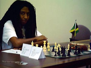 The Lion King: Ras Malaku Lorne playing at the recent Jamaican National Championship. He will make his Olympiad debut in Mallorca, Spain in October. Copyright ©, Mark Bowen.