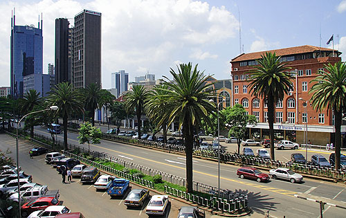 Kenyatta Avenue... cuts right in the middle of Nairobi.