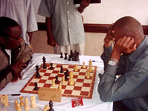 Gateri (left) and Kanengoni (right), Gateri Managed to squeeze a win from Kanegeni in this thrilling encounter. Copyright © Alex Makatia, 2005.