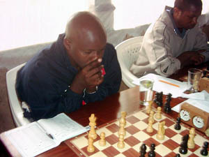 Nathan Ateka has played for Kenya board one in three Olympiads. He managed to get the 3rd Prize with 4.5 points. Copyright © Alex Makatia, 2005.