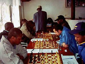 The two Ben's meet in a vicious clash. Ben Nguku left and Ben Magana (right). Copyright © Alex Makatia, 2005.