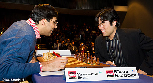 The Anand-Nakamura game was anything but friendly. Photo by Ray Morris-Hill.