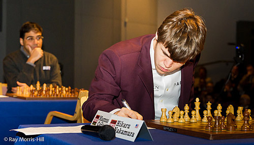Story of Streaks... Anand continues drawing surge while Carlsen continues streak against Nakamura. Photo by Ray Morris-Hill.