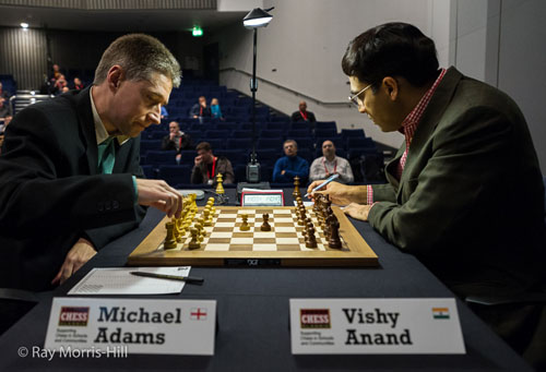 Michael Adams - Viswanathan Anand, 0-1. Photos by Ray Morris-Hill.