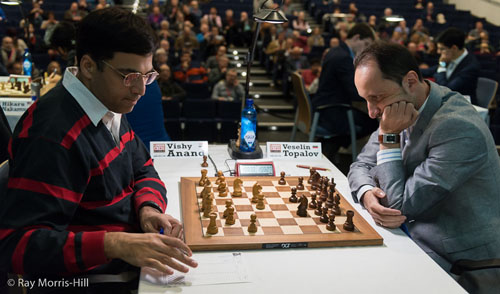 Anand played a nice game today against Veselin Topalov. Photo by Ray Morris-Hill.