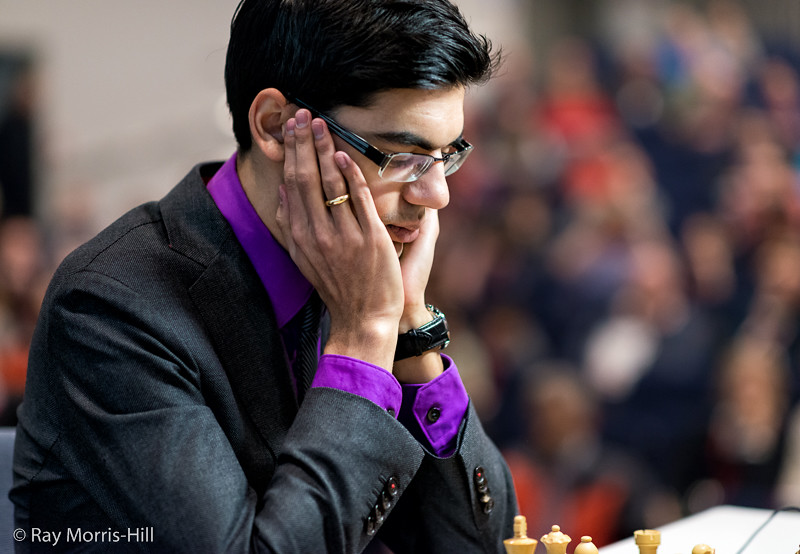 Anish Giri's shirt provided most of the color in today's games. Photo by Ray Morris-Hill.