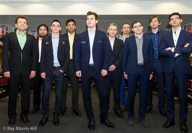 Levon Aronian, Hikaru Nakamura, Fabiano Caruana, Viswanathan Anand, Magnus Carlsen, Michael Adams, Veselin Topalov, Maxime Vachier-Lagrave, Alexander Grischuk, Anish Giri. Photo by Ray Morris-Hill.