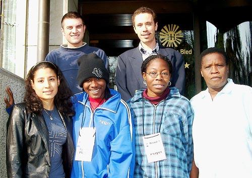 Barbados Women's Team (front row, from left to right) Nathalie Greenidge (Bd. 1), Rashida Corbin (Bd. 2), Rashaana Blenman,  (Bd. 3) and Margaret Prince (Bd. 4); (in the rear, from left to right) GM Valerian Gaprindashvili (captain), Allan Herbert (Federation President). Copyright © Jerry Bibuld, 2002.