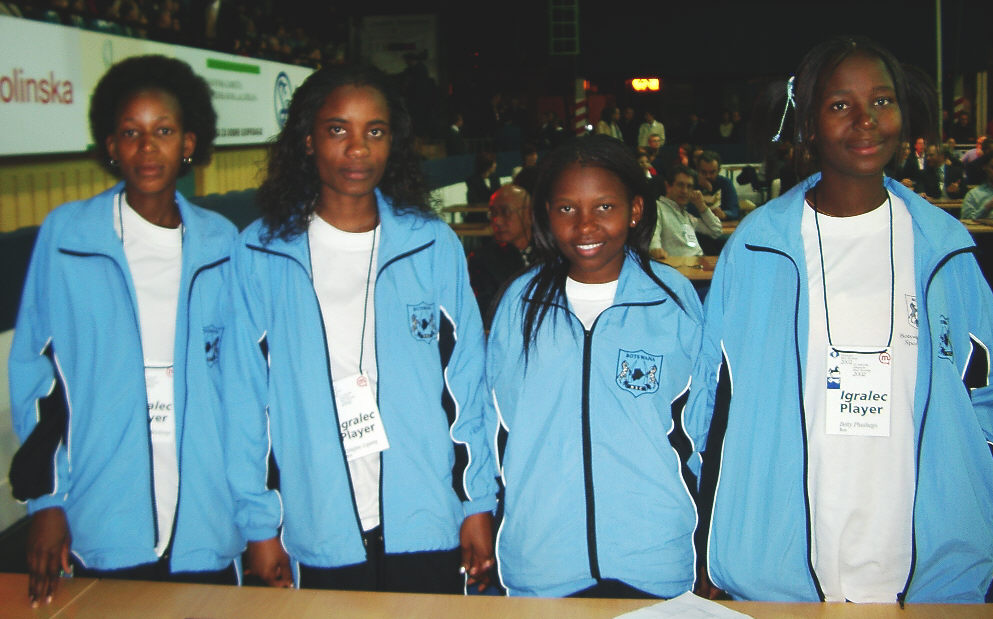 Botswana Women's Team (from left to right): Boikhutso Mudongo, Tshephiso Lopang, Keltumetse Mokgacha and Betty Bryno Phuthego. Copyright © Jerry Bibuld, 2002.