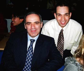 GM Garry Kasparov and GM Ilya Gurevich. Copyright © Jerry Bibuld, 2002.