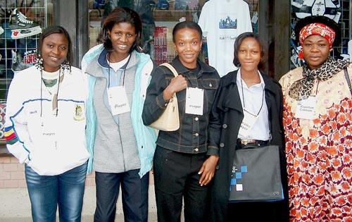 Nigeria's Women's Team (from left to right) Rosemary Amadasun (Bd. 1), Pauline Glewis (Bd. 2), Bimbo Edenwale (Bd. 3), Kerni Teru (Bd. 4) and, A.I.N. Jideonwo-George (captain). Copyright © Jerry Bibuld, 2002.