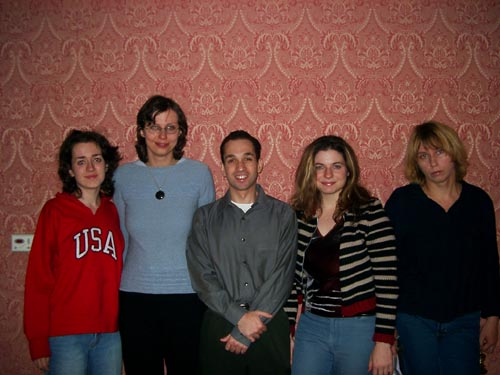 USA Women's Team (from left to right) IM Irina Krush (Bd. 1), Camilla Baginskaite (Bd. 2), GM Ilya Gurevich (captain), Jennifer Shahade (Bd. 3) and Elena Donaldson (Bd. 4). Copyright © Jerry Bibuld, 2002.