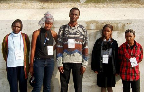 Zambian Women's Team (from left to right) Elizabeth Mutale, Linda Nangwale, Felix Malata (captain) Mumba Chilufya, Jita Kafumbwe. Copyright © Jerry Bibuld, 2002.