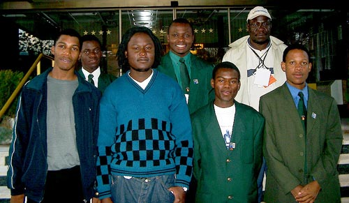 Zimbabwe's Men's Team (front, from left to right) IM Robert Gwaze (Bd. 1), Takaedza Chipanga (Bd. 2), Michael Luberto (Bd. 3) and Charles Chakanyuka (Bd. 4); from left to right (in the rear), Wisdom Chikwanda (Bd. 5), Rangariral Karumazondo (Bd. 6) and Charles Kuwaza, (captain). Copyright © Jerry Bibuld, 2002.