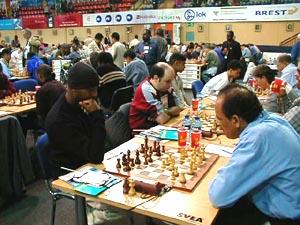Netherlands Antilles vs. Aruba (Men). Copyright © Barbados Chess Federation, 2002.