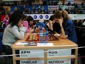 Armenia vs. Russia (Women). Copyright © Barbados Chess Federation, 2002.