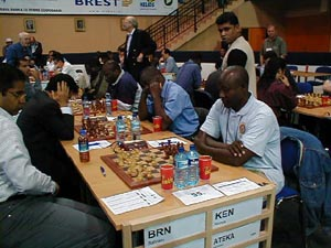 Bahrain vs. Kenya (Men). Copyright © Barbados Chess Federation, 2002.