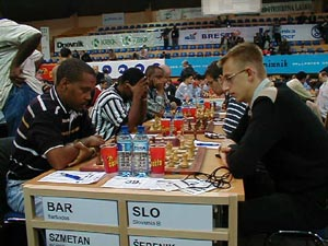 Barbados vs. Slovenia-B (Men). Copyright © Barbados Chess Federation, 2002.