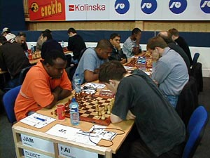 Jamaica vs. Faroe Islands (Men). Copyright © Barbados Chess Federation, 2002.