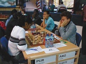 Puerto Rico vs. Angola (Women). Copyright © Barbados Chess Federation, 2002.