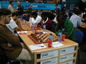 United Arab Emirates vs. Zimbabwe (Men). Copyright © Barbados Chess Federation, 2002.