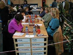USA vs. Yugoslavia (Women). Copyright © Barbados Chess Federation, 2002.