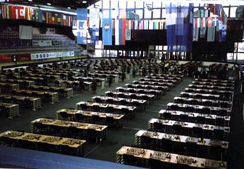 All is quiet in the Olympiad Playing Hall. Copyright © Ian Wilkinson, 2002.