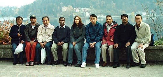 Mauritian National Team (Bled, Slovenia): (L-R) Hurrynarain Bhowany, Lindsay Rohan, Devarajen Chinasamy, Rajah Bhowany, Sabina (Slovenia Guide), Patrick Li Ying, Jugputty Callychurn, Sada Paupoo and Roy Phillips.