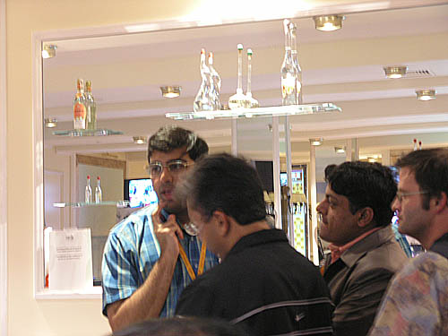 Viswanathan Anand giving a post-tournament interview.