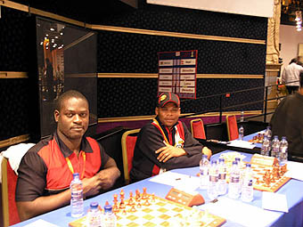 Angolans Eugenio Campos and Pedro Aderito await the beginning of the round…