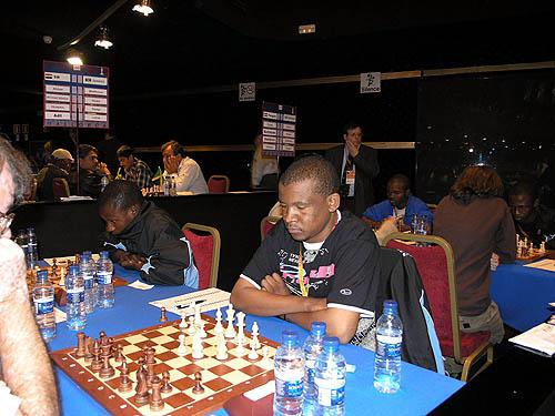 Botswana vs. Paraguay - (1st row facing camera - right to left) Olebogeng Hosiah - board #4, Providence Oatlhotse - board #3 (2nd row facing camera - right to left) Phemelo Khetho - board #2, Ignatius Njobvu - board #1