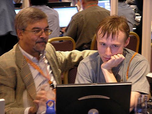 Sitting across from me was the ChessBase team. Here is the brainchild, Frederic Friedel (left) showing Ukraine's Ruslan Ponomariov new software features. Ponomariov perhaps spent too much time hanging out in the press room.