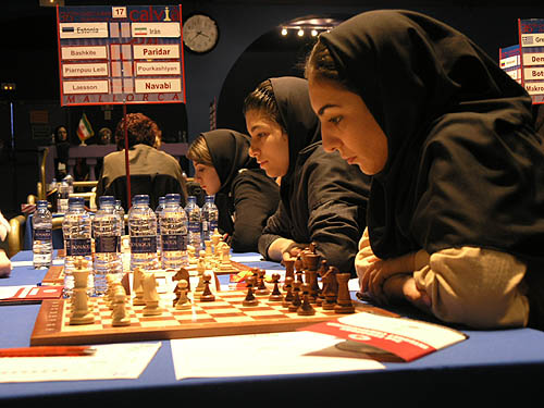 Iran vs. Estonia - (right to left) Shadi Paridar, Atousa Paurkashiyan, Shirin Navabi